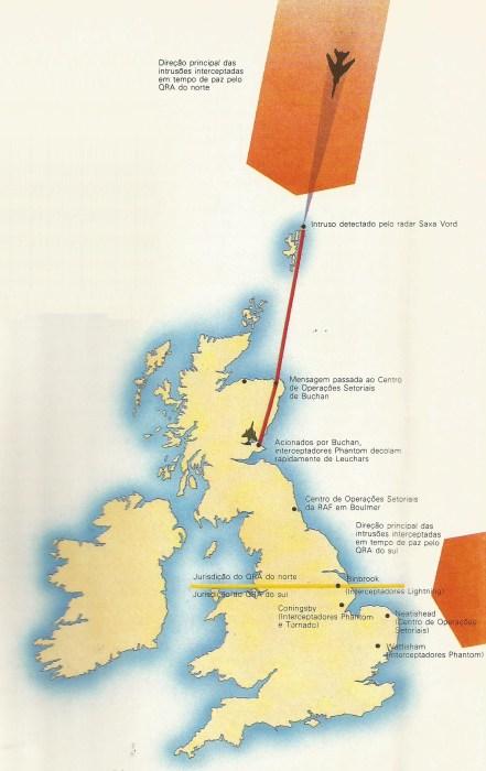 O mapa do arquipélago britânico mostra as direções de possíveis invasões dos territórios cobertos pelos QRA do norte e do sul.
