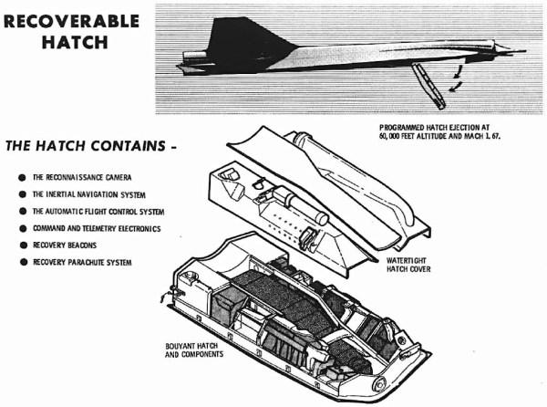 Desenho esquemático do hatch do Lockheed D-21 - Lockheed Martin