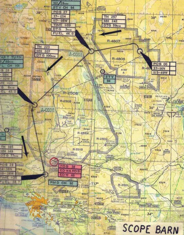 Rota seguida pelos A-12, da Área 51 para as instalações da Lockheed, em Palmdale, após o cancelamento do programa - Roadrunners Internationale