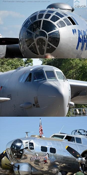 Na estática, três fortalezas voadoras da Boeing que marcaram história: a B-29, a B-52 e a B-17.