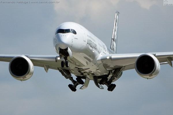 Arremetida do A350 XWB em Oshkosh. (Foto: Fernando Valduga / Cavok Brasil)