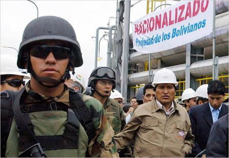 Evo Morales ocupou militarmente duas refinarias brasileiras, nacionalizado-as posteriormente com o aval do governo brasileiro.