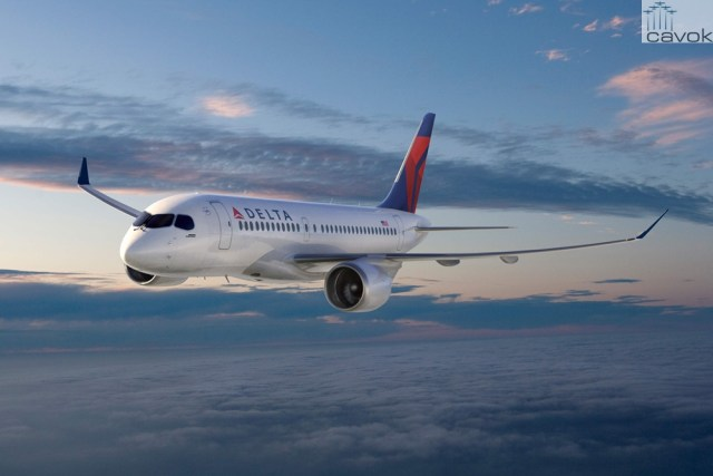 Concepção artística do Bombardier CSeries CS100 nas cores da Delta - Delta encomenda 75 aeronaves CSeries 100 da canadense Bombardier e 37 aeronaves A321 da europeia Airbus