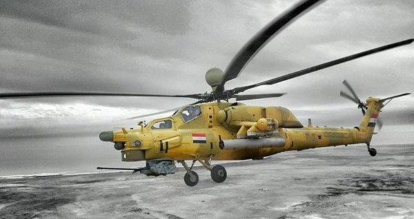 Um dos helicópteros Mi-28NME equipados com visão noturna em uso pelo Exército Iraquiano.