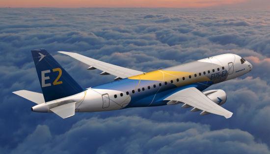 Concepção artística do Embraer E175-E2. (Foto: Embraer)