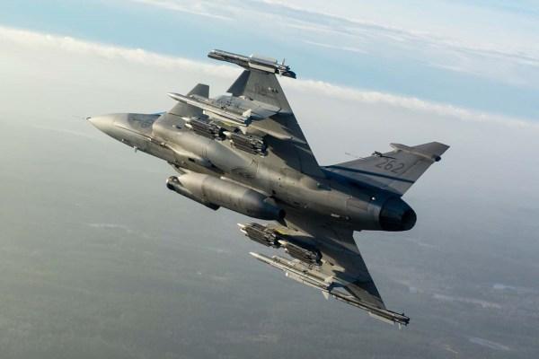 Caça Gripen da Força Aérea sueca, com a atualização operacional MS20. (Foto: Saab Group)