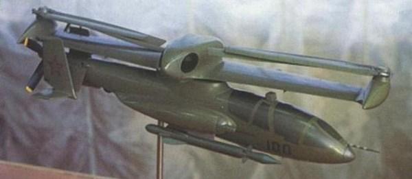 As asa com os rotores podia girar para melhor acondicionamento em hangares pequenos.