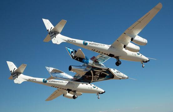 As duas aeronaves voaram conectadas durante todo voo. (Foto: Virgin Galactic)