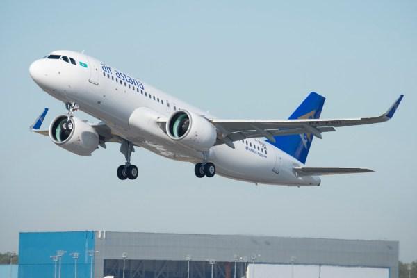O primeiro Airbus A320neo da companhia aérea Air Astana do Cazaquistão. (Foto: Airbus)