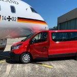 Aeronave VIP Global 5000 da Força Aérea Alemã é atingida por van no aeroporto