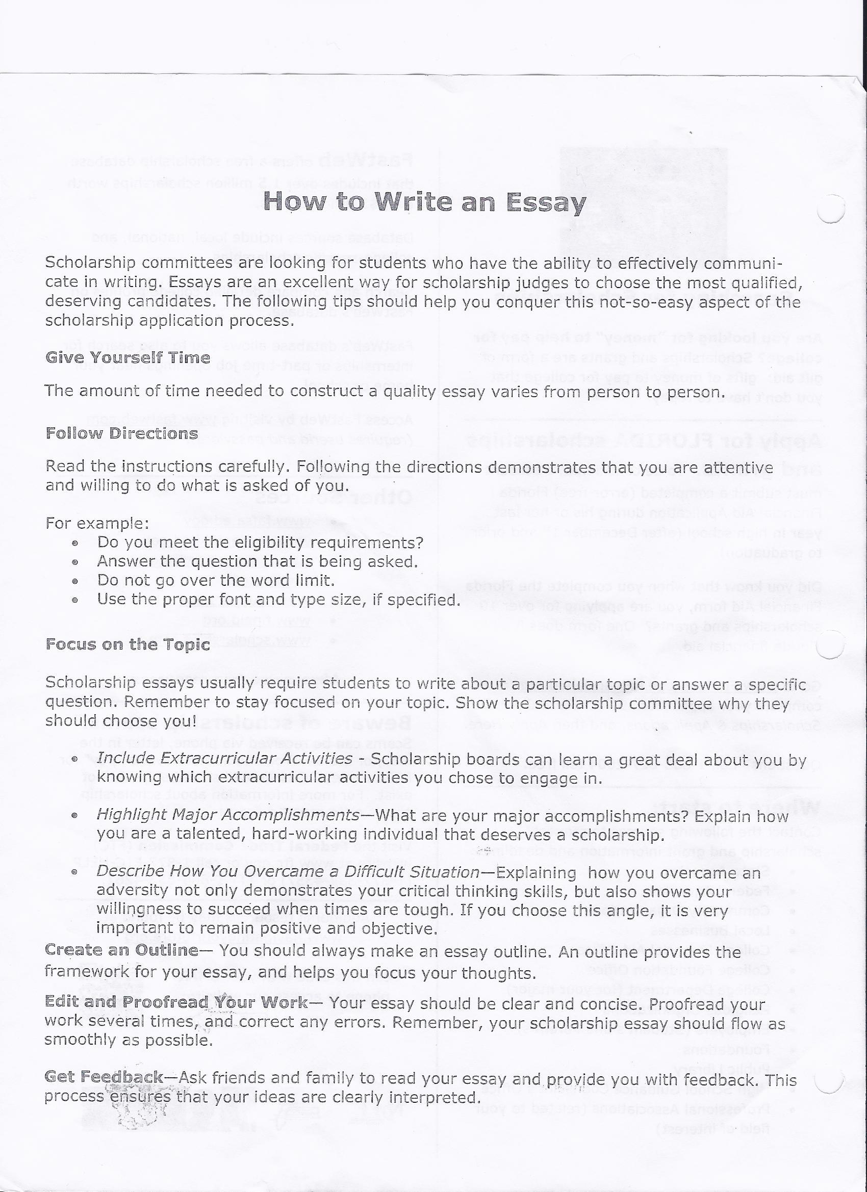 college essay formats