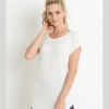 Essential Round Neck Cap Sleeve Shirt - Front White