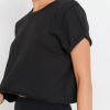 Supima® Cotton Crop Top with Short Tulip Sleeves - Closeup