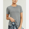 Short-Sleeve Tulip Athleisure Longline Shirt - Front Gray