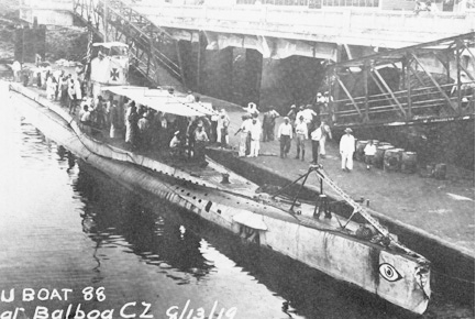 The UB-88 submarine as she looked in 1919.