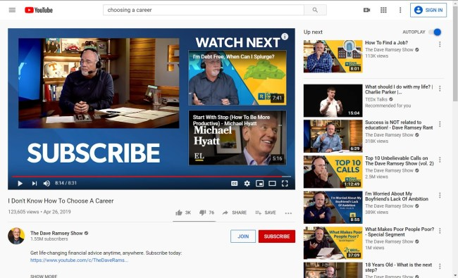 Grow your email list with YouTube by placing links in your endscreen like this one from Dave Ramsey.
