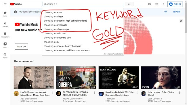 Grow your email list with YouTube by using YouTube's autocomplete feature.