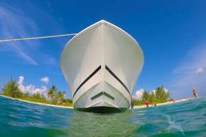 private charter boat bow at starfish point grand cayman