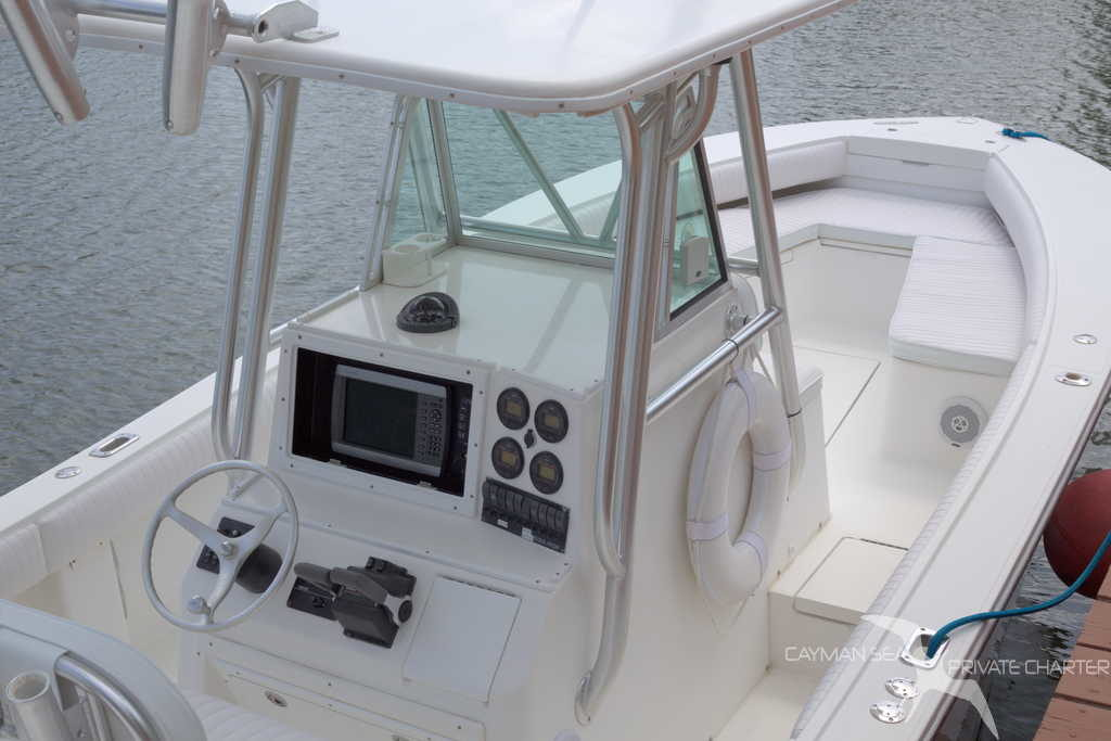 centre console of our private charter boat in grand cayman