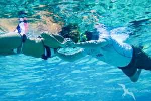 couple snorkeling on a private boat charter in grand cayman