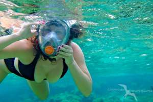 woman reef snorkeing on a private boat charter