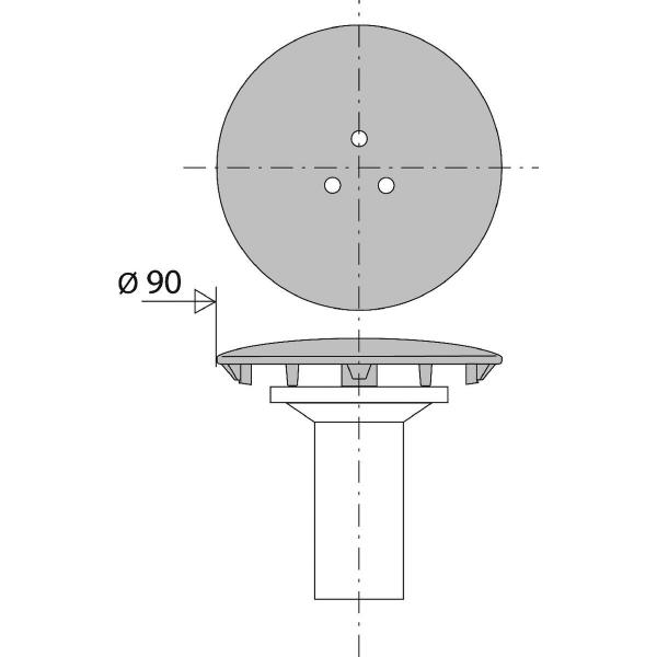 capot de bonde de douche chrome o 90 mm valentin