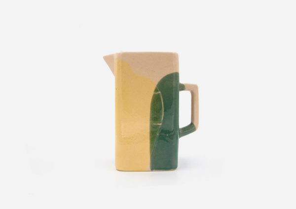 Jarra Cuadrada. Mancha Verde y Amarillo. (L)