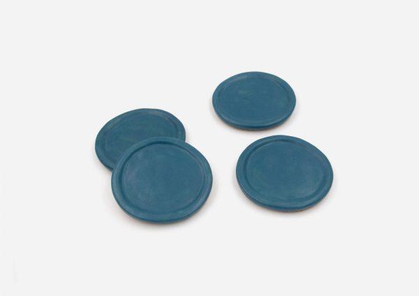 Set Porta Vasos Borde. Azul Satin. (X4)