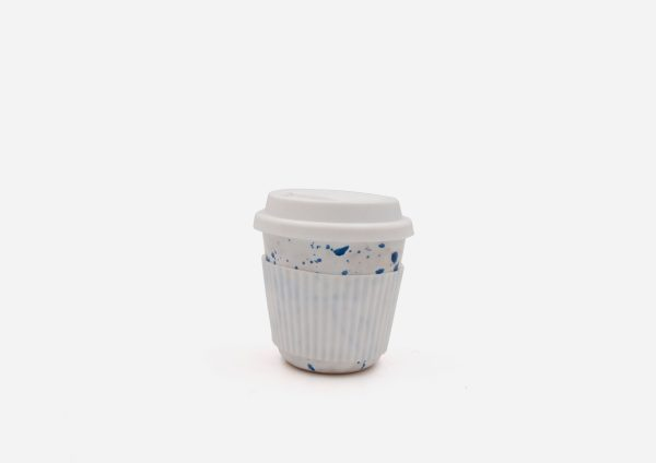 Keep Cup. Blanco Dalmata Azul. (S)