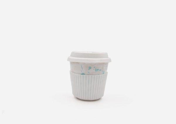 Keep Cup. Blanco Dalmata Aguamarina. (S)