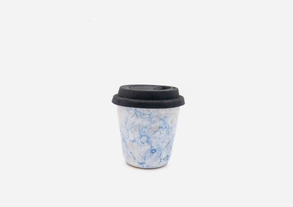 Keep Cup. Blanco Burbujas Azul Oscuro. (S)