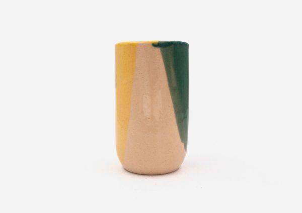 Florero Vaso Tubo. Mancha Verde y Amarillo. (L)