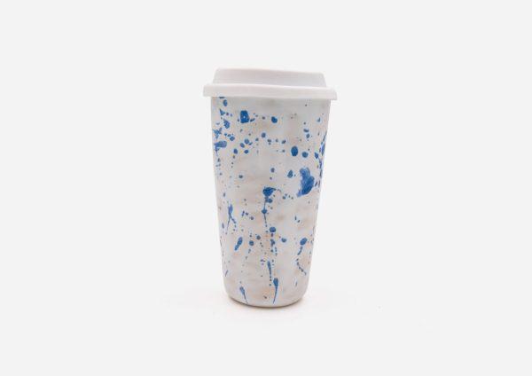 Keep Cup. Blanco Dalmata Azul. (L)