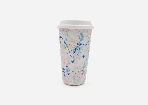 Keep Cup. Blanco  Dalmata Arcoiris. (L)