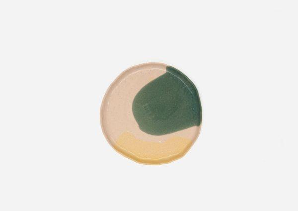 Plato Vajilla Litio. Mancha Verde y Amarillo. (Xs)