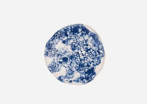Plato Vajilla Litio. Blanco Burbujas Azul. (L)