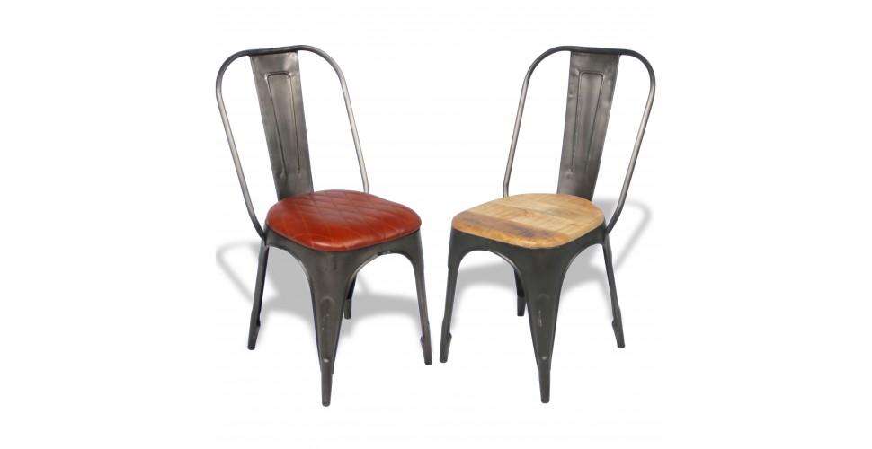 2 dernieres chaises metal antique factory assise bois et cuir design industriel