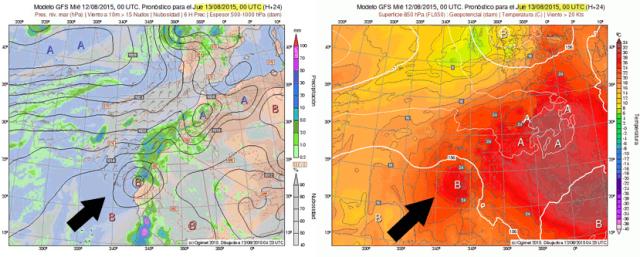 Depresión subsahariana, presencia en campos isobárico de superficie y 850 hPa. Previsión del GFS para mañana a las 00 UTC.