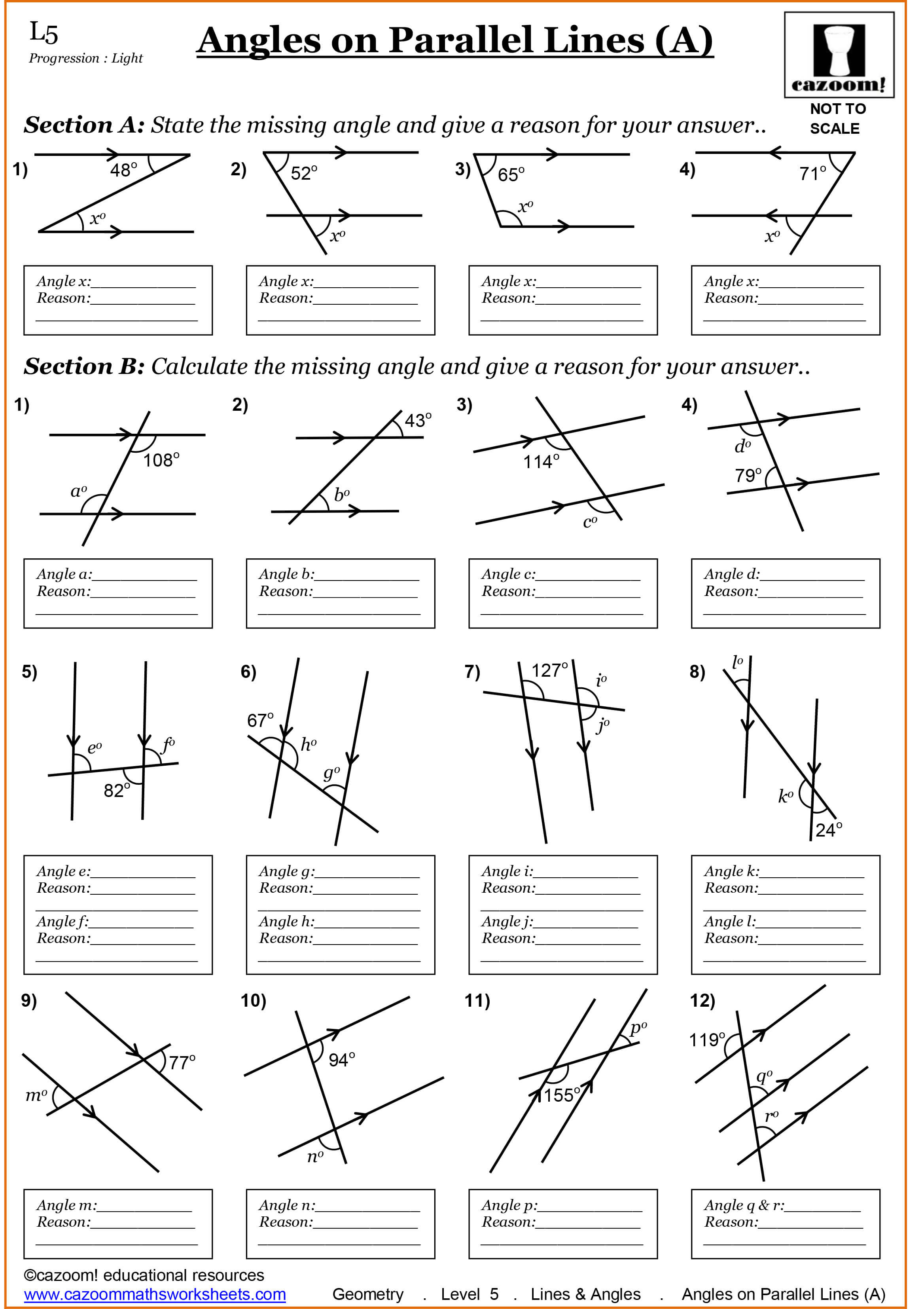 Parallel Lines Worksheet Year 3