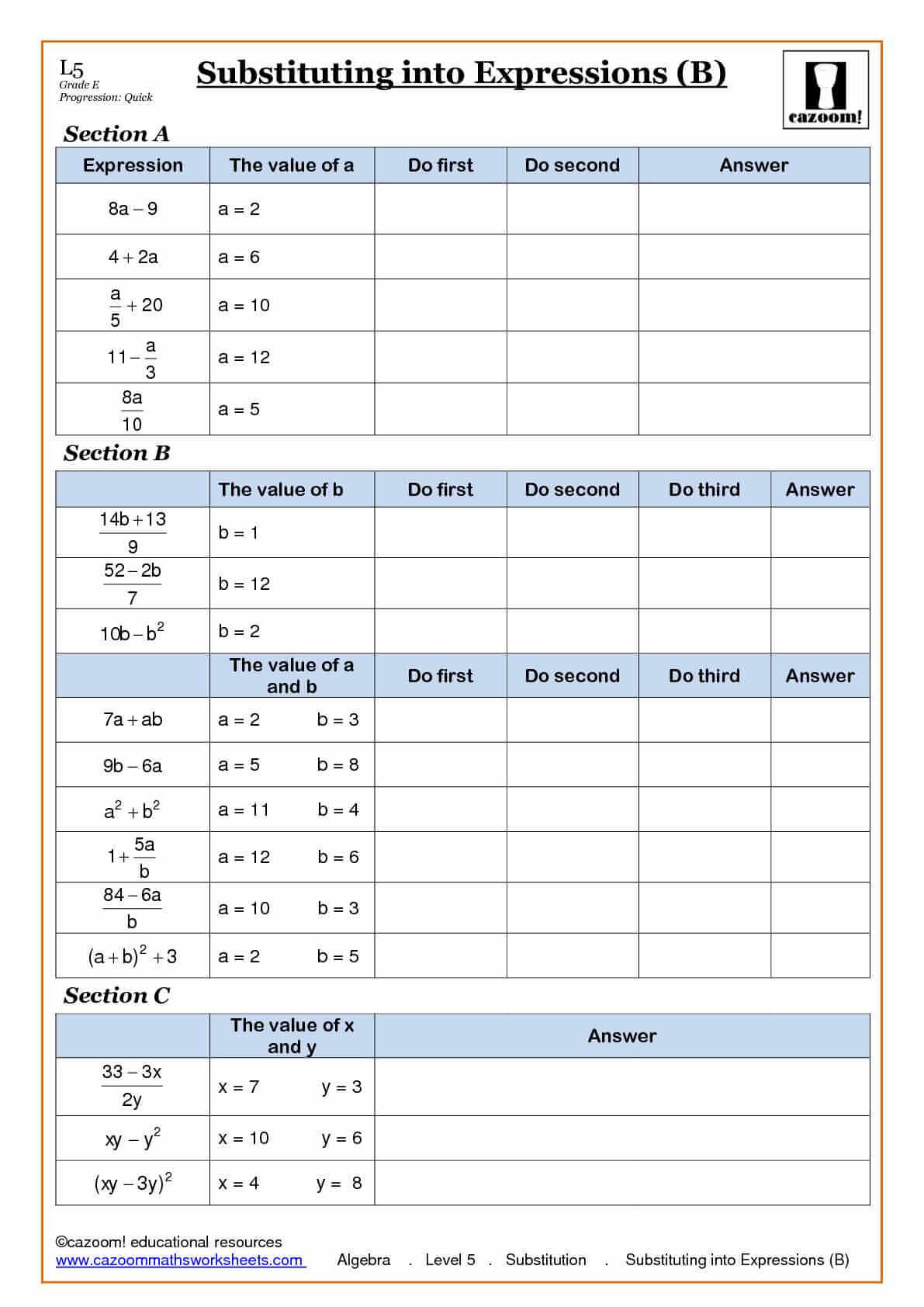 Algebra Worksheet New 820 Algebra Bodmas Worksheets