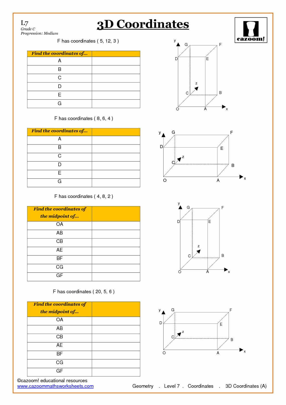 Coordinates Maths Worksheets
