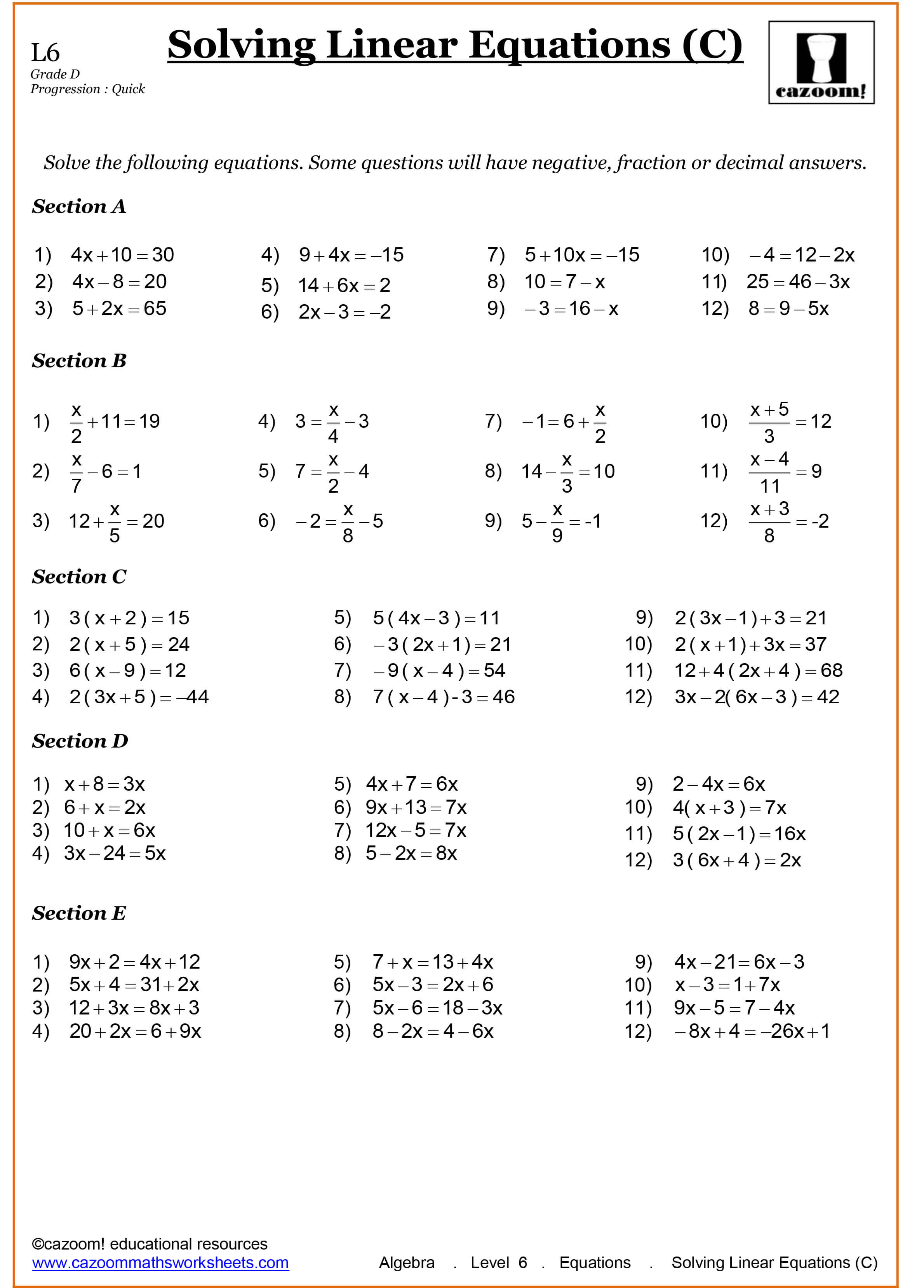 Year 8 Maths Worksheets