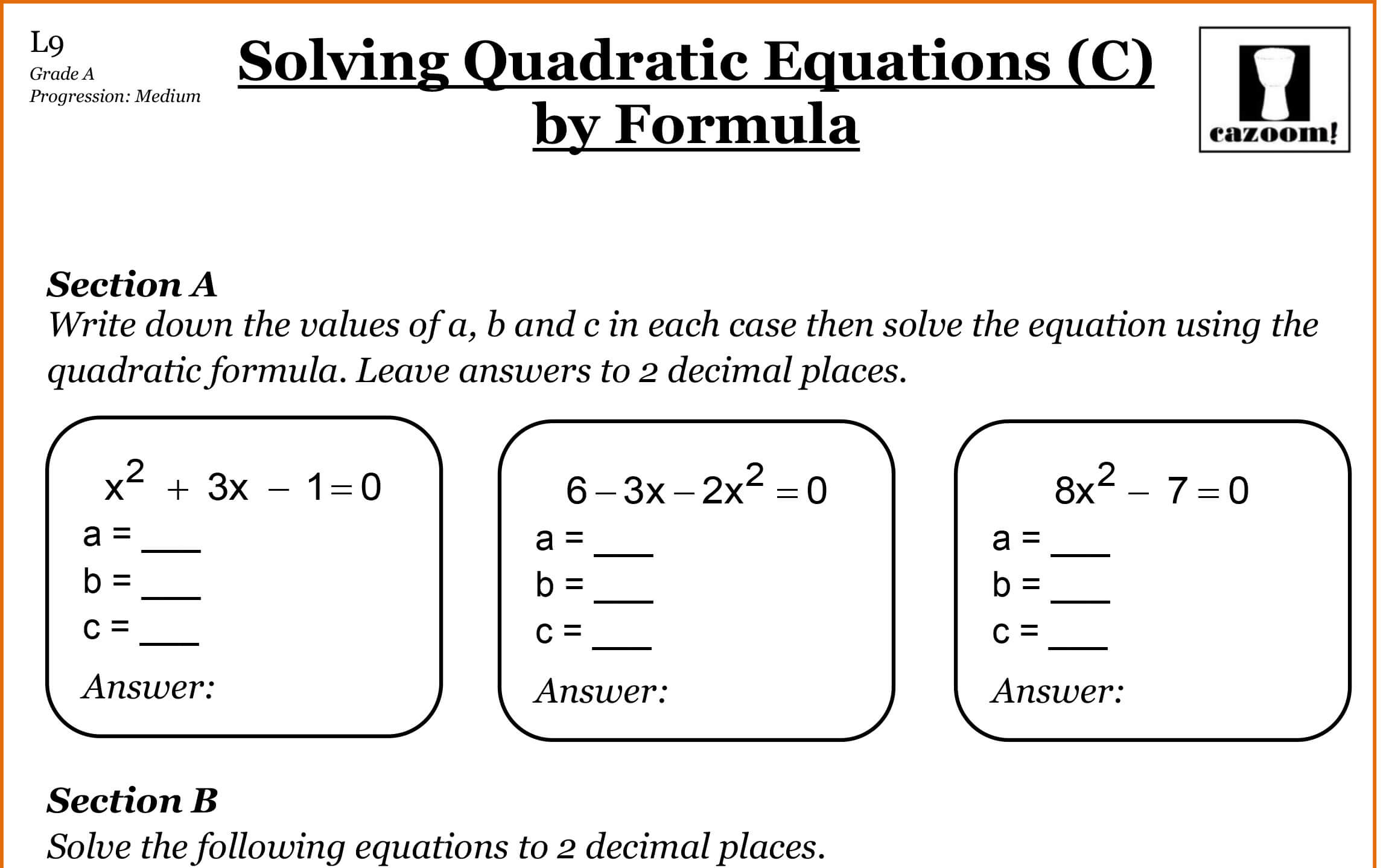 Quadratic Equations Gcse Questions Worksheets