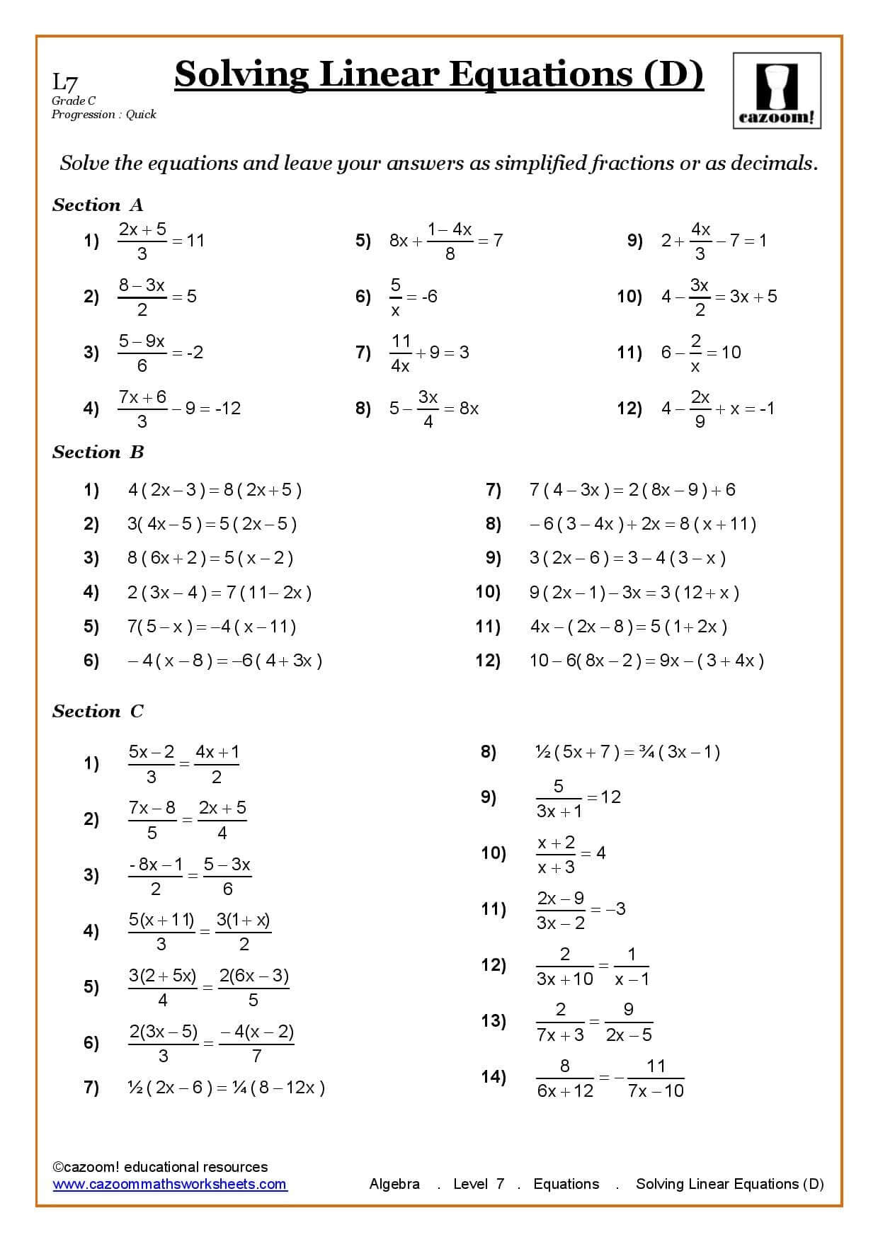 Simultaneous Equations Worksheet Ks3 With Answers