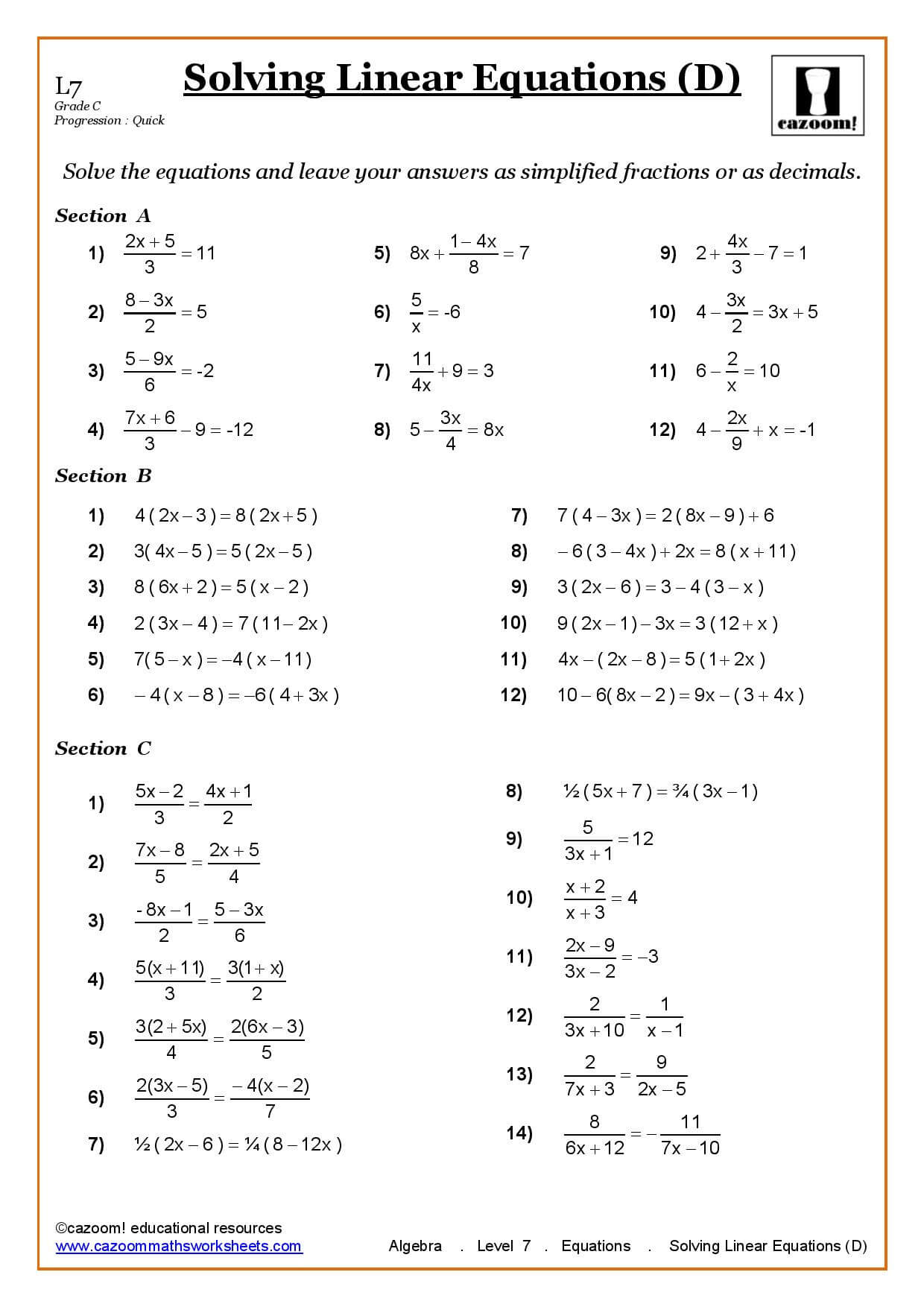 Solving Linear Equations Hangman Worksheet Answers Solving