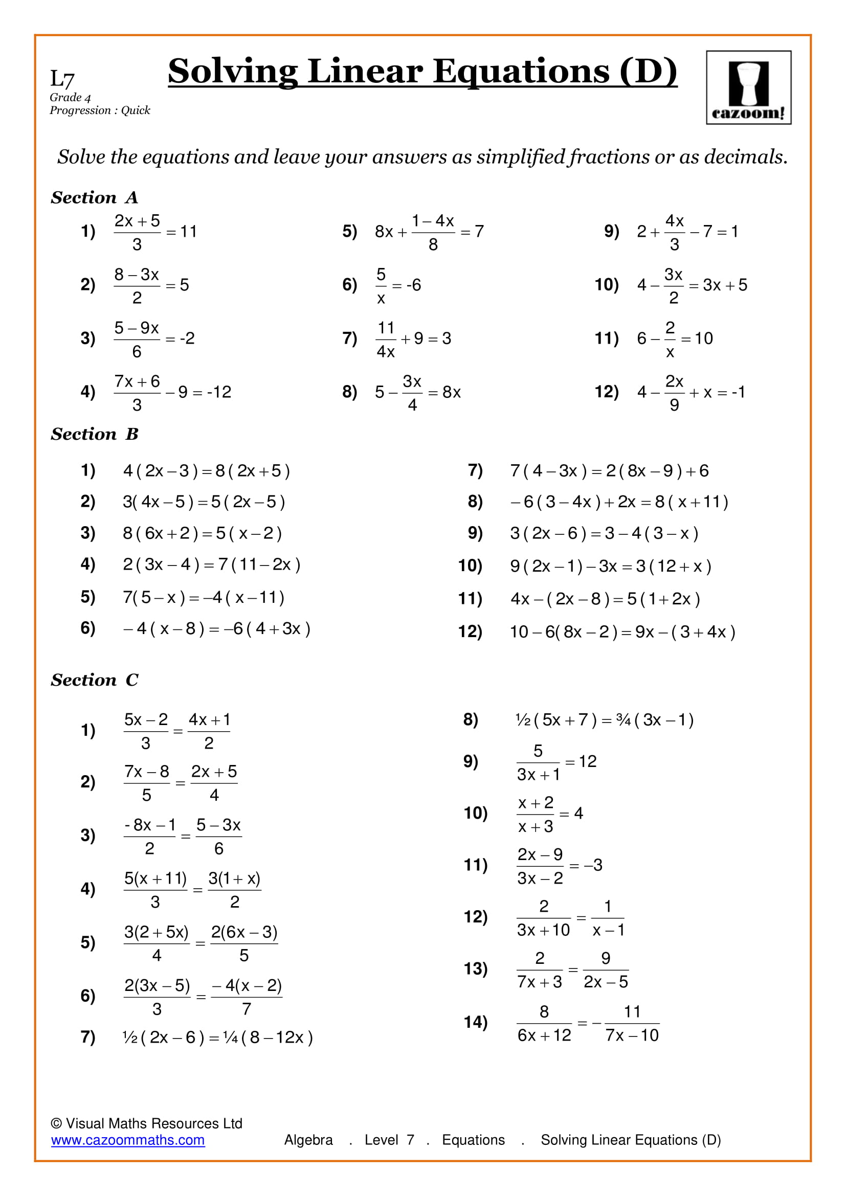 Real World Linear Equations Worksheet