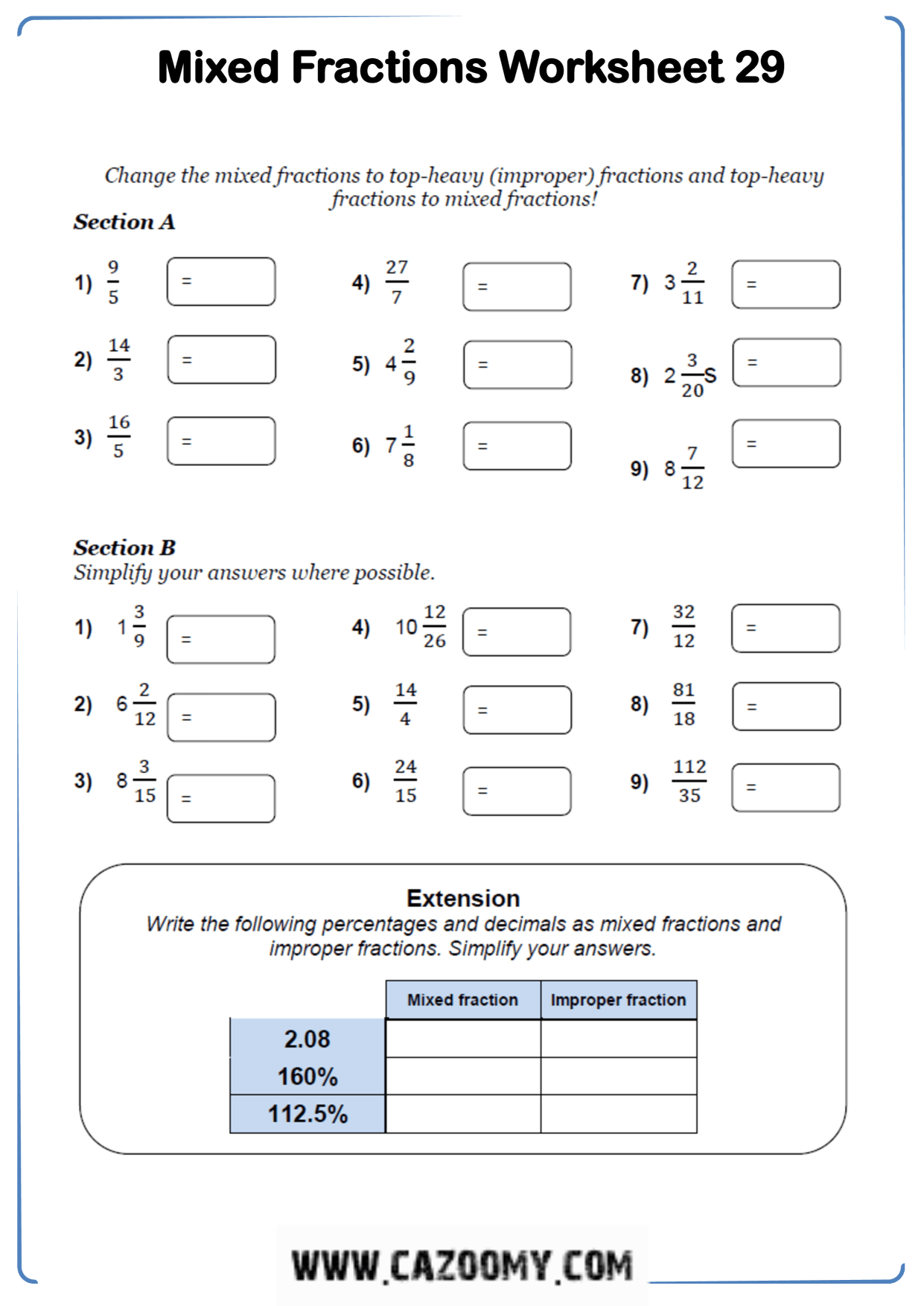 Free Maths Worksheets