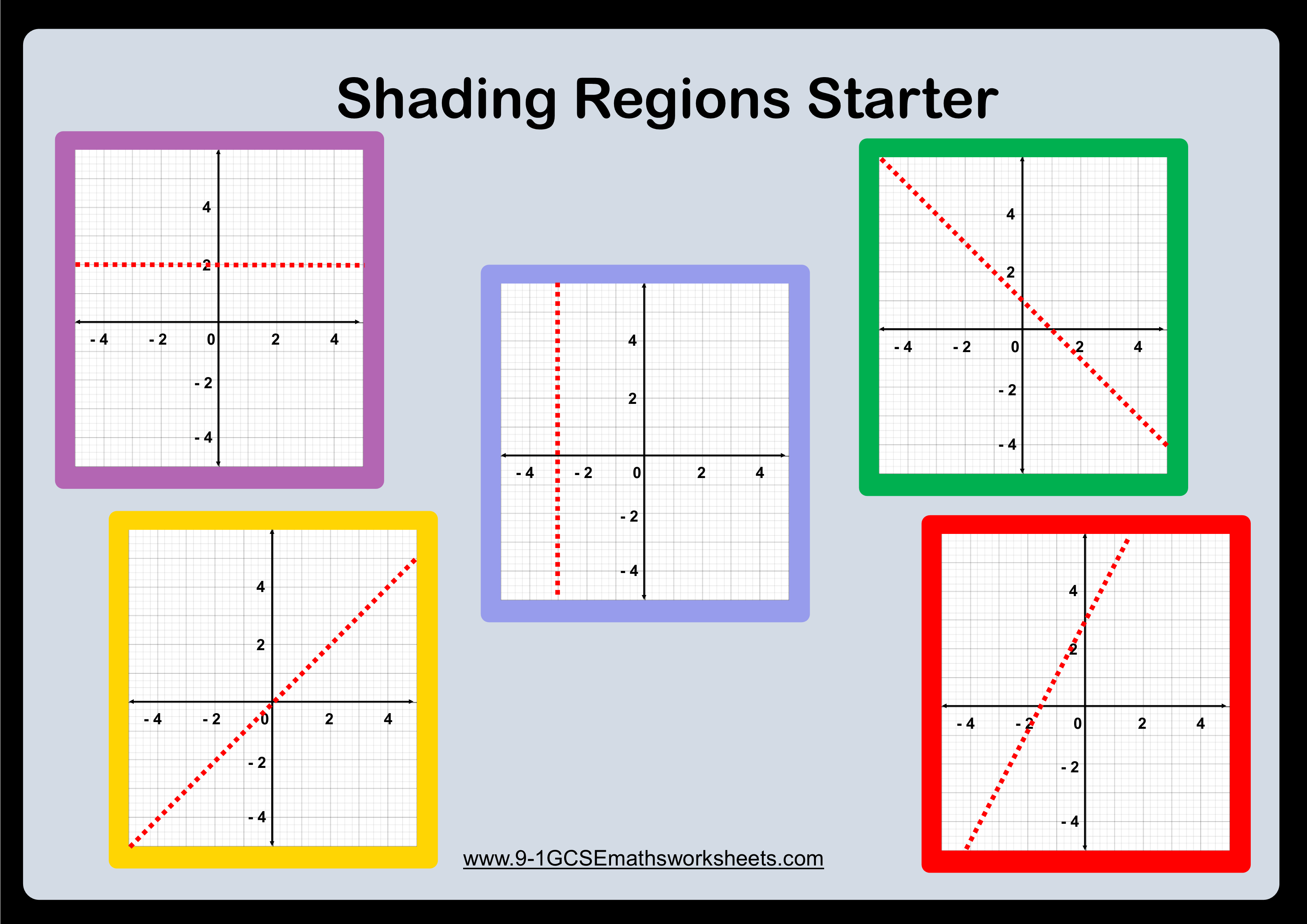 Shading Regions Inequalities Worksheets