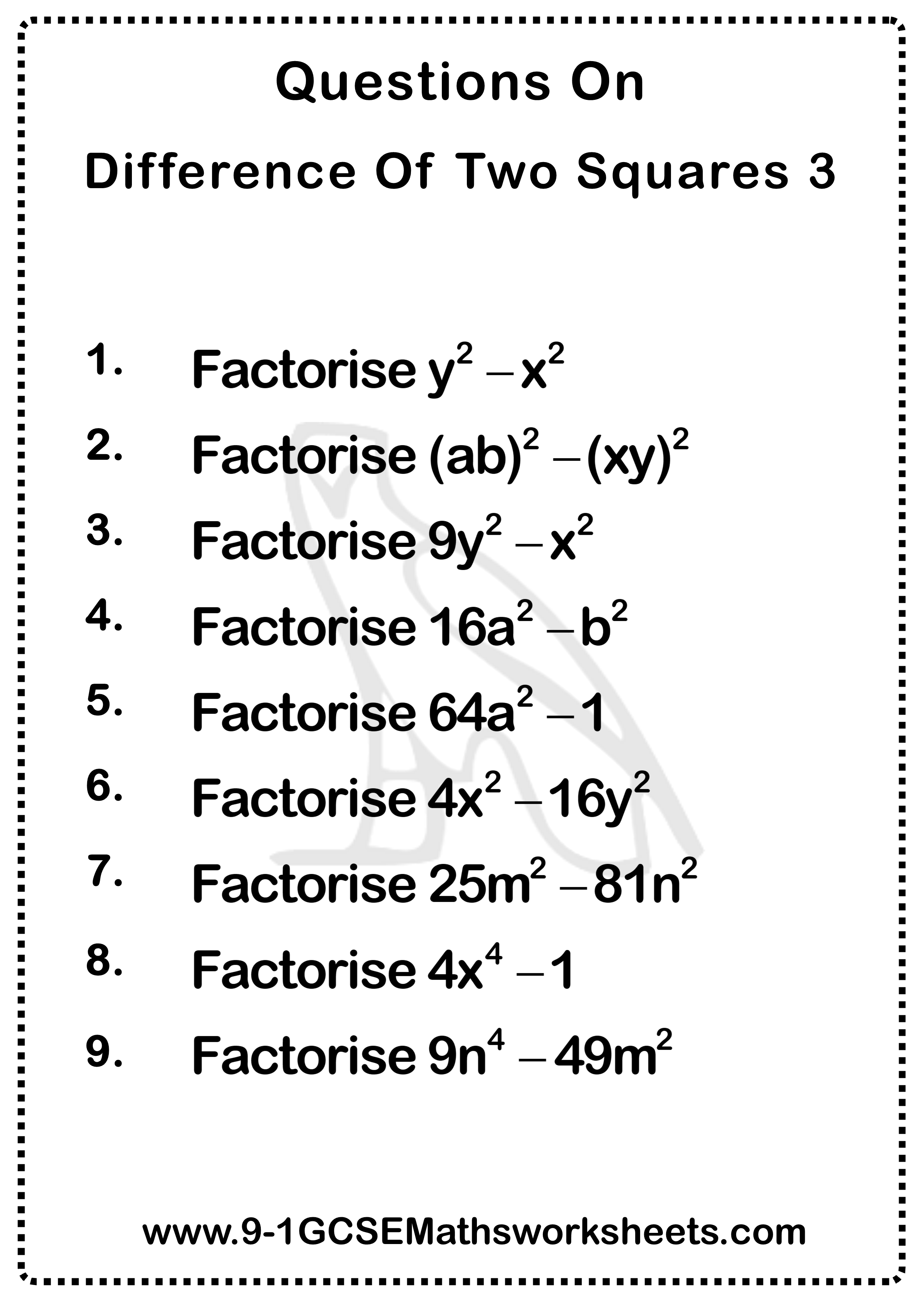 Difference Of Two Squares Worksheet Practice Questions