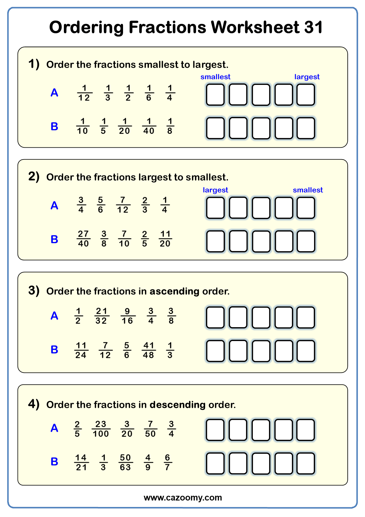 Ordering Fractions Worksheets
